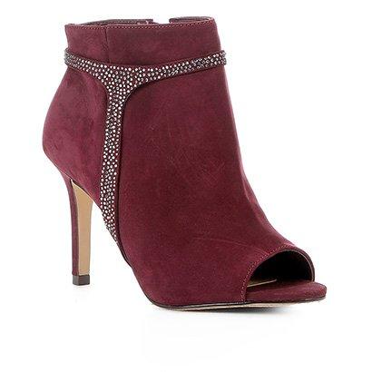 Ankle Boot Shoestock Nobuck Glam Salto Alto Feminina-Feminino