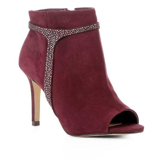 Ankle Boot Shoestock Nobuck Glam Salto Alto Feminina - Vinho