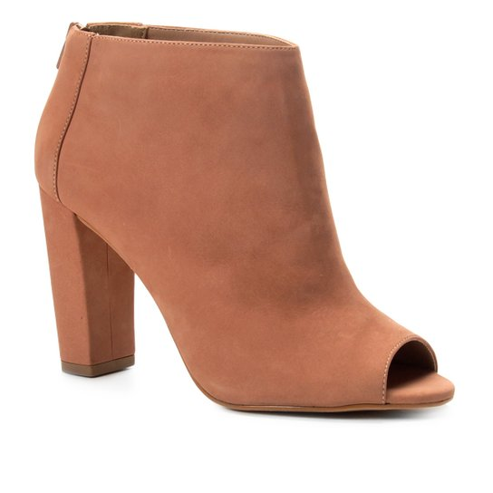 Ankle Boot Shoestock Nobuck Salto Grosso - Nude