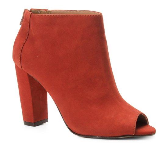 Ankle Boot Shoestock Nobuck Salto Grosso - Caramelo
