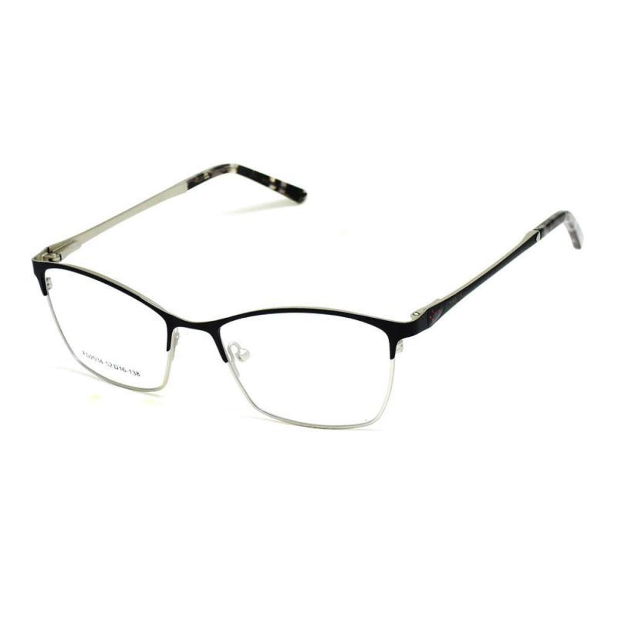 Armação De Óculos De Grau Cannes 2034 T 52 C Metal Feminino - Preto ... db199938ac