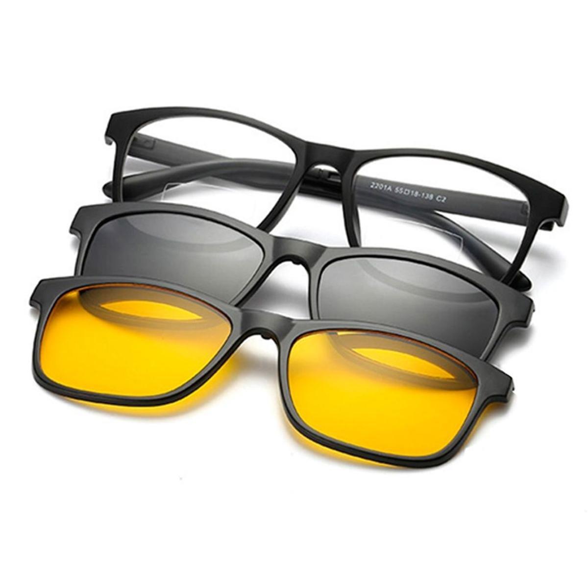 96b53b549 Armação Óculos + 2 Clip On 3 Em 1 Grau Sol E Estojo Com Imã All Lock -  Incolor | Zattini