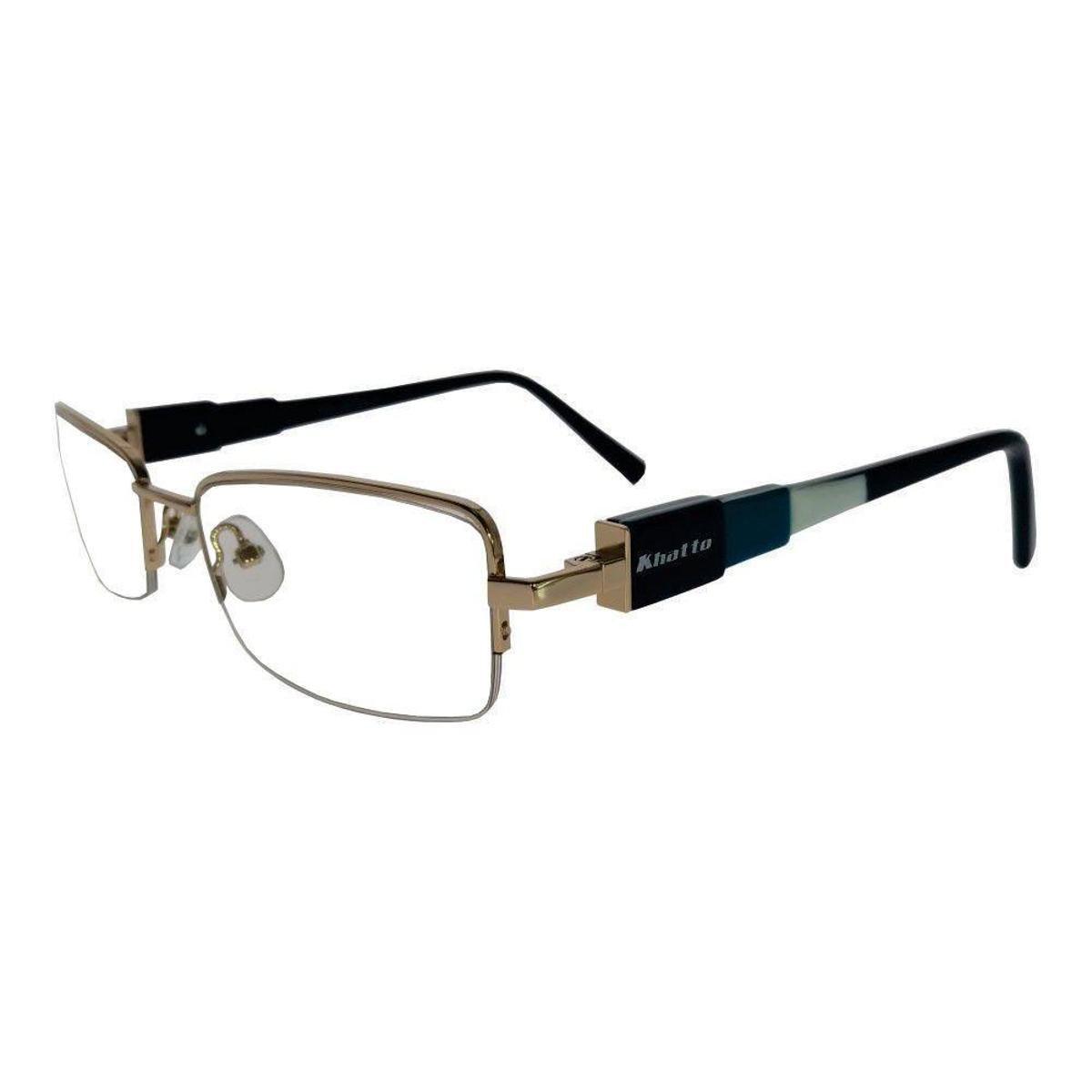 Armação Óculos de Grau Khatto Fusion Estilo Masculino - Dourado ... afbbbd10f5