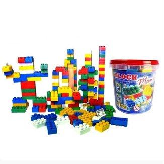 Balde com Blocos de Montar 104 Peças Brinquedo Interativo Educativo Infantil Estilo Lego Inmetro