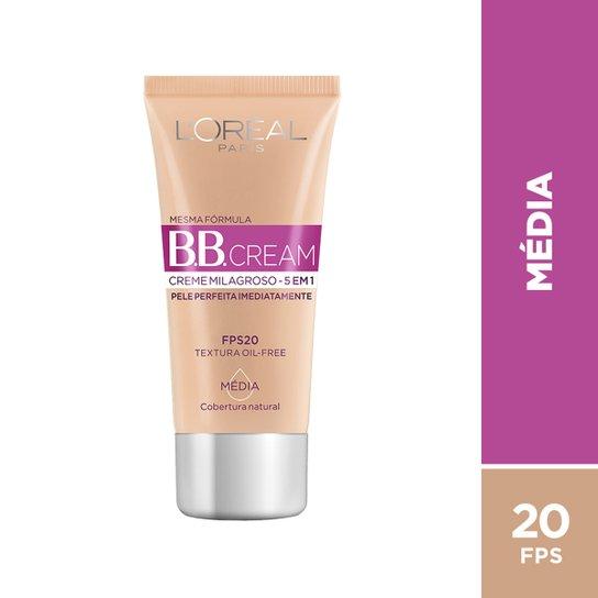 Base BB Cream 5 em 1 FPS20 L'Oréal Paris - Cor Média 30ml - Incolor