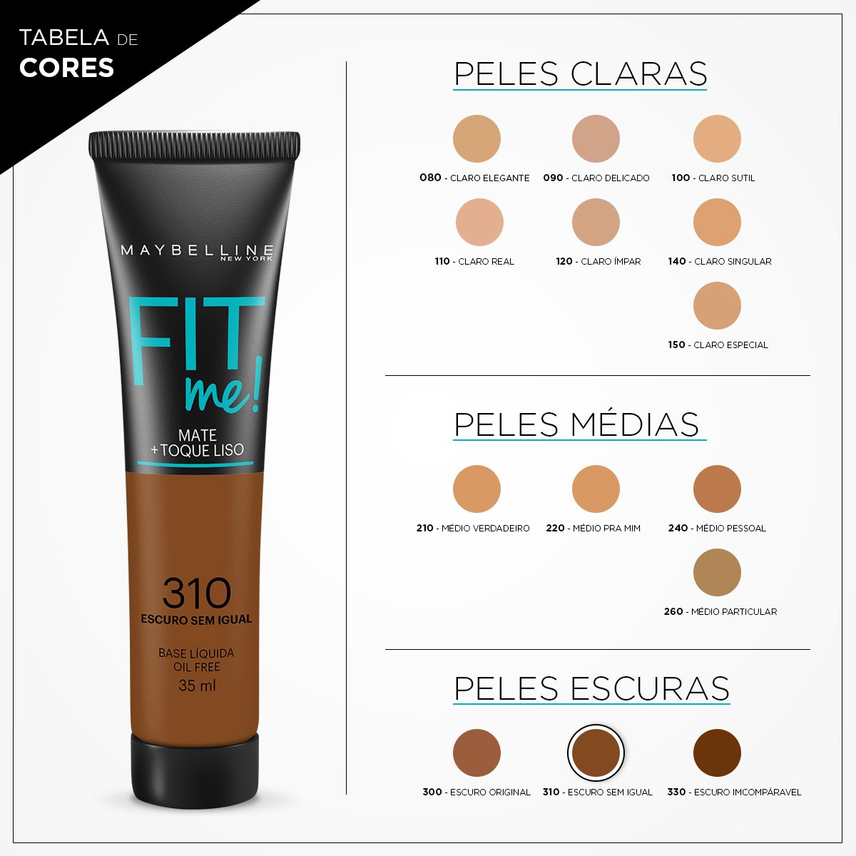 Base Liquida Maybelline Fit Me Cor 310 Zattini