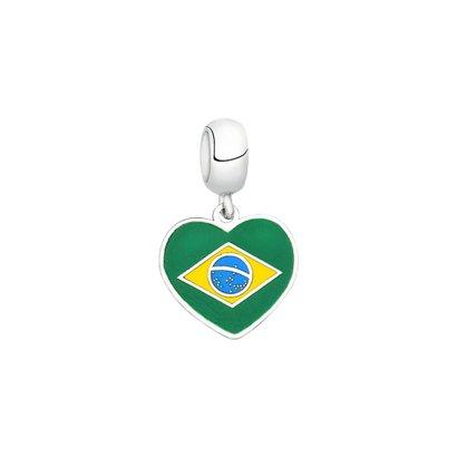 Berloque Bandeira do Brasil de Prata Moments