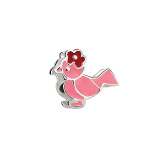 Berloque de Prata Pássaro Rosa Moments