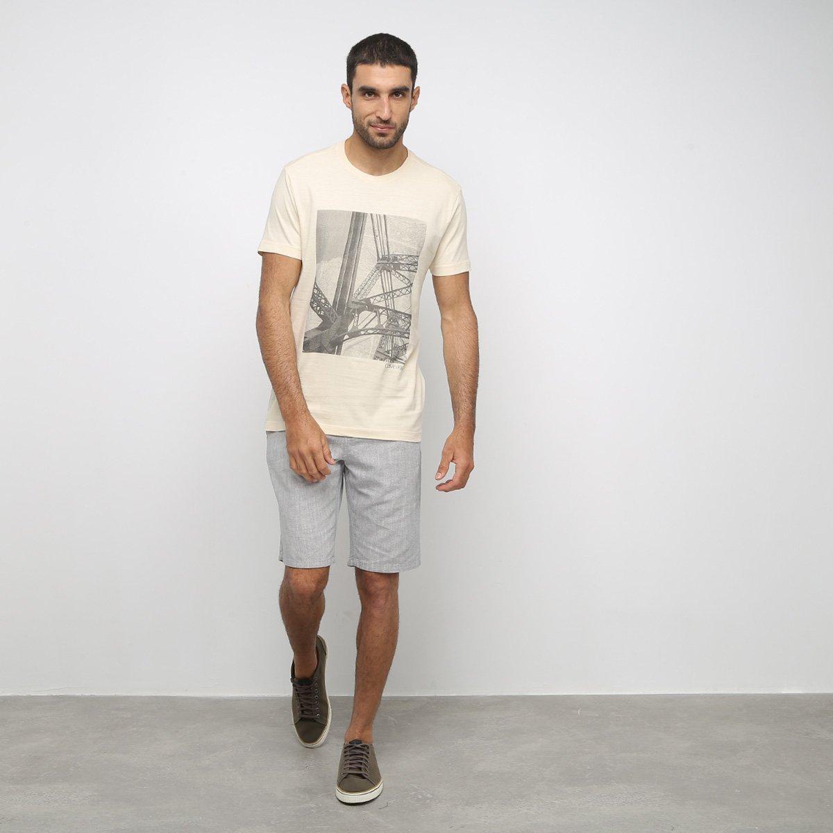 Bermuda Calvin Klein Alfaiataria Masculina - Mescla