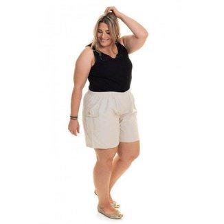 Bermuda Feminina Plus Size Sarja Bolso Cargo Elástico Cintura