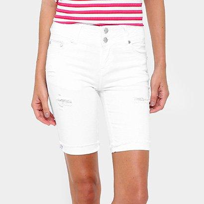Bermuda Gup's Jeans Puídos Botão Duplo Feminina-Feminino