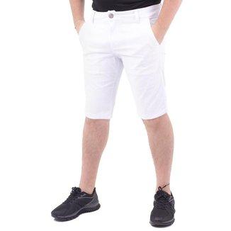 Bermuda Jeans Básica Masculina Ecxo Branco