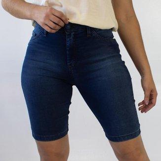 Bermuda Jeans Ciclista Escura Feminina Alta Botão Anticorpus