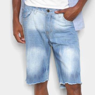 Bermuda Jeans Ecxo Barra Desfiada Masculina