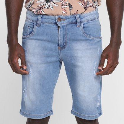 Bermuda Jeans Ecxo Com Puidos Masculino