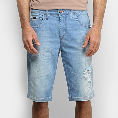 Bermuda Jeans Forum Delavê Destroyed Masculina