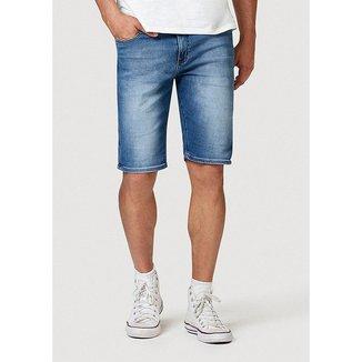 Bermuda Jeans Hering Slim Com Barra Dobrada Masculina