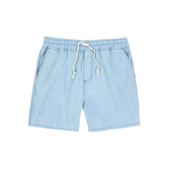 Bermuda Jeans Hering Viscose Com Amarração Masculino - Azul