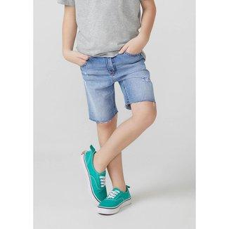 Bermuda Jeans Infantil Masculino Destroyed