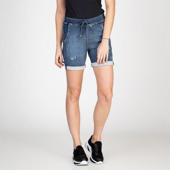 Bermuda Jeans Jogger Meia Coxa Destroyed Bloom Feminina - Azul Escuro