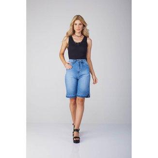 Bermuda Jeans Osmoze Com Cinto Mom 6002100016 Azul - Azul - 42