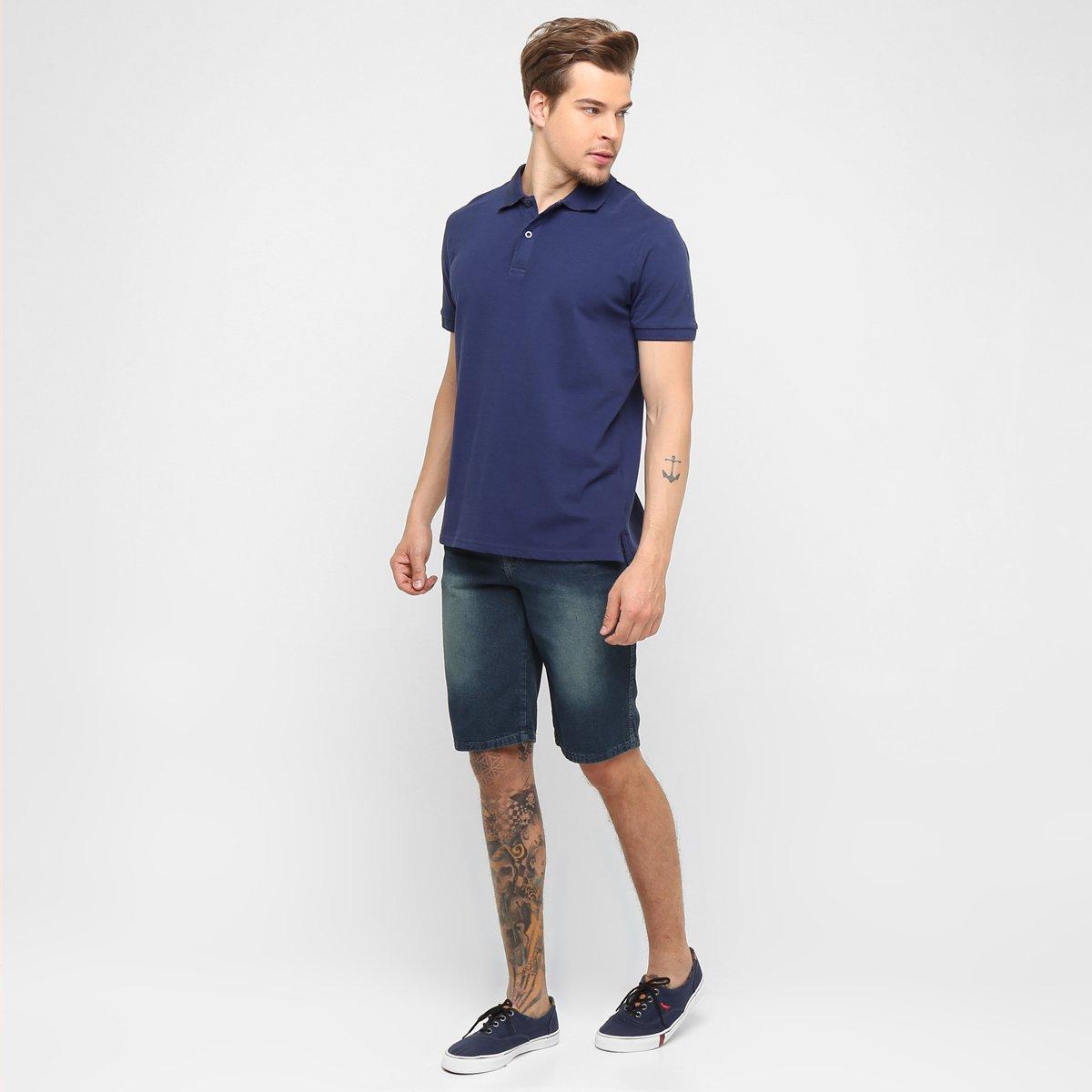 Bermuda Jeans Preston Básica Masculina - Jeans