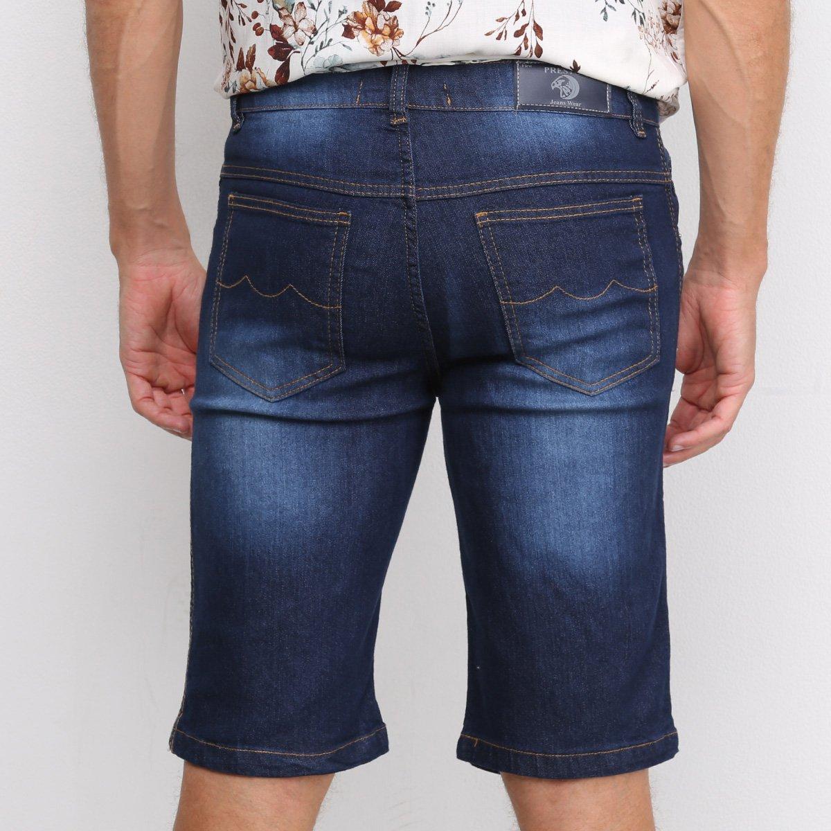 Bermuda Jeans Preston Estonada Masculina - Azul