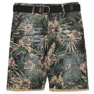 Bermuda Juvenil Look Jeans Sarja Floral Masculino
