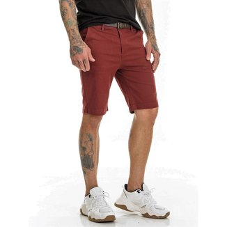 Bermuda Sarja Chino Premium Com Lycra Slim Fit Masculina