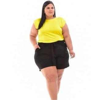 Bermuda Short Plus Size Grande Feminino em Viscolycra Meia Coxa - Preta