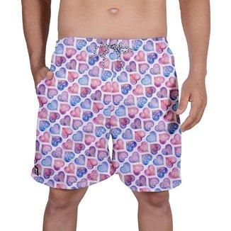 Bermuda Tactel Masculina Estampa Coração Verão Praia Dia
