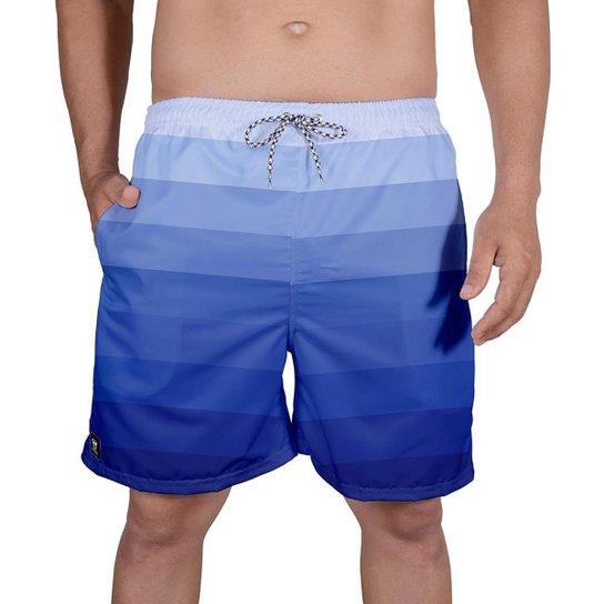 Bermuda Tactel Masculina Estampa Mix Cores Leve Verão Praia - Azul Escuro