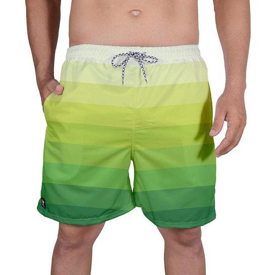 Bermuda Tactel Masculina Estampa Mix Cores Leve Verão Praia - Verde claro