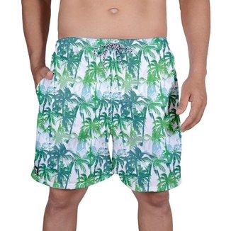 Bermuda Tactel Masculina Estampa Tropical Verão Praia Dia