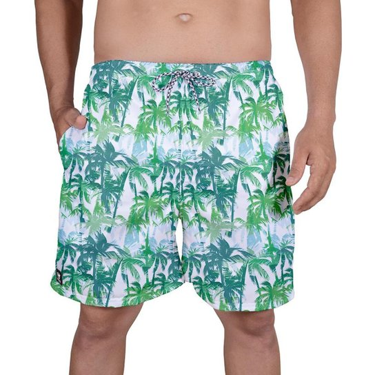 Bermuda Tactel Masculina Estampa Tropical Verão Praia Dia - Branco+Verde