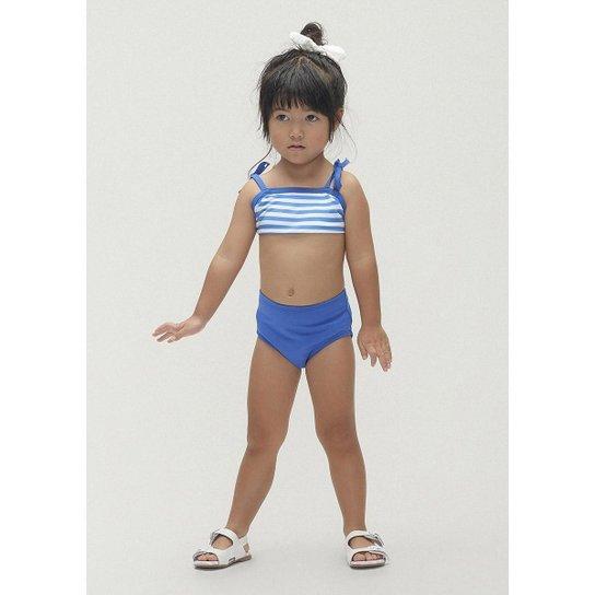 Biquíni Com Proteção Solar Em Tecido Com Elastano Alcinha Feminino Infantil - Azul