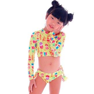 Biquíni Infantil Manga Longa Neon Ice Cream - Cecí