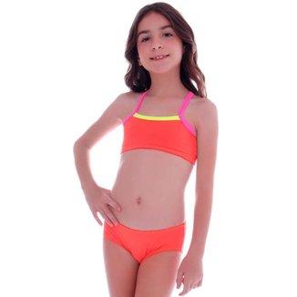 Biquini Infantil Top Neon Laranja - Cecí