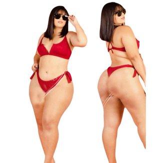Biquini Plus Size Aro V Feminino Com Bojo De Amarração