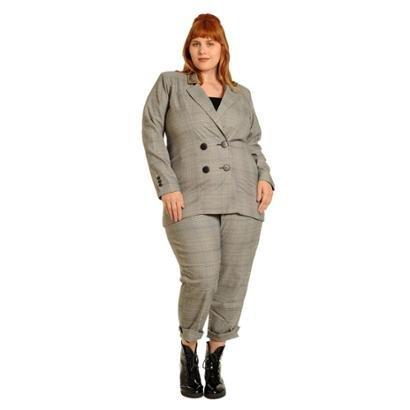 Blazer Plus Size Alfaiataria Xadrez Gales Feminino