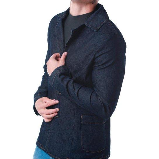 Blazer RockeSoda Jeans  Botão Liso Masculino - Azul Escuro