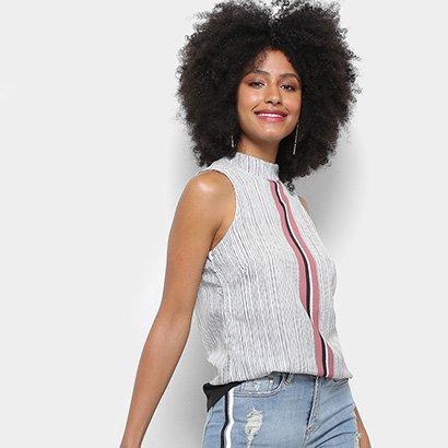 Blusa Acostamento Fashion Sb Listrada Gola Alta Feminina-Feminino