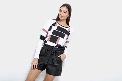 Blusa Acostamento Tricot Fashion Feminina-Feminino