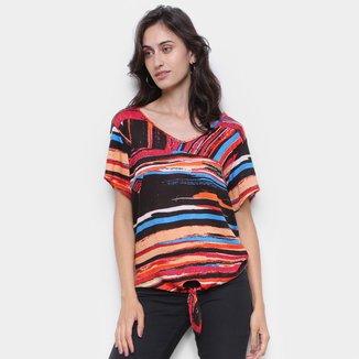 Blusa Água Viva Básica Com Amarração Multicolor Feminina