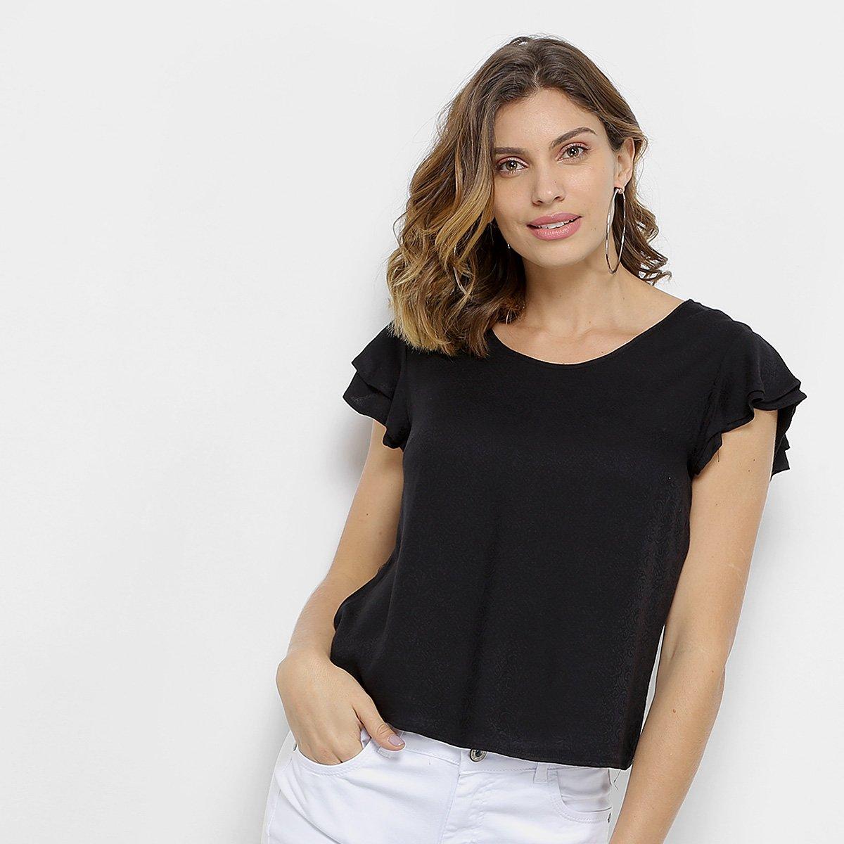 Blusa Aishty Textura Babado Feminina - Compre Agora  10c0aa9e0c3