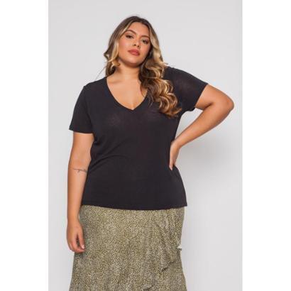 Blusa Almaria Plus Size Pianeta Básica Feminina