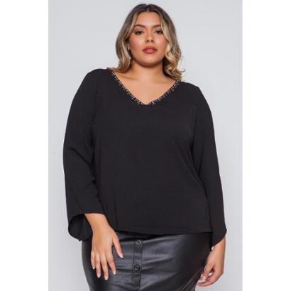 Blusa Almaria Plus Size Pianeta Crepe Feminina