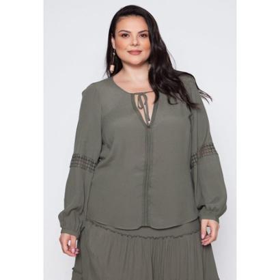 Blusa Almaria Plus Size Pianeta Creponada Feminina