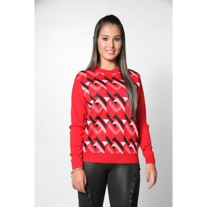 Blusa Aquerella Tricot Decote Redondo Geométrica-Feminino