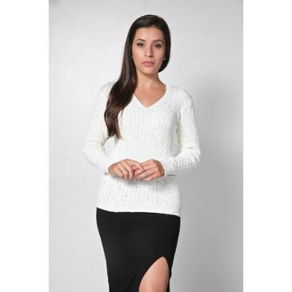 Blusa Aquerella Tricot Decote V Trancinhas-Feminino